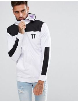 11 Degrees Track Zip Through Hoodie In White by 11 Degrees