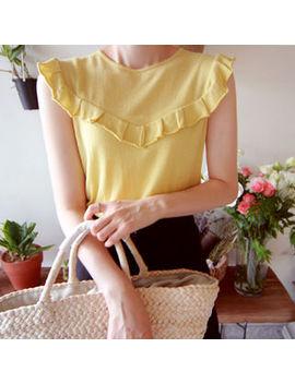 Sleeveless Frill Trim Knit Top by Leelin