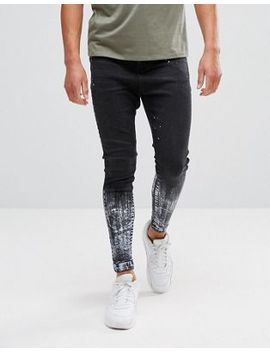11 Degrees Super Skinny Drop Crotch Jeans In Black With Paint Splat by 11 Degrees