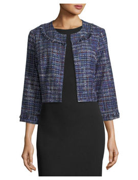 Karl Lagerfeld New Blue Women's Size Large L Tweed Cropped Jacket $132 #966 by Karl Lagerfeld