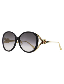 Gucci Oval Sunglasses Gg0226sk 001 Black/Gold 60mm 0226 by Gucci