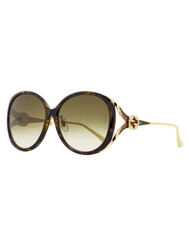 Gucci Oval Sunglasses Gg0226sk 003 Havana/Gold 60mm 0226 by Gucci