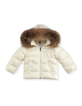K2 Hooded Fur Trim Puffer Coat, Size 12 M 3 by Moncler