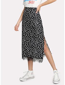 Eyelash Lace Hem Split Skirt by Shein