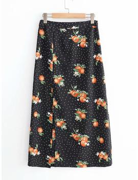 Split Hem Spot Skirt by Shein