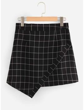Grid Print Asymmetrical Hem Skirt by Shein