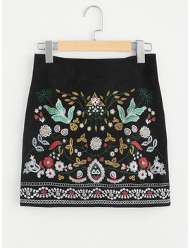 Shein Botanical Embroidered Cord Skirt by Shein