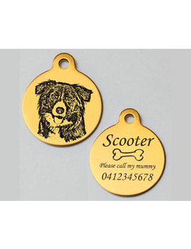 Border Collie Personalised Engraved Aluminium Pet Dog Id Tag 31mm Round & Free Slip Ring ≪Tag Ano Circ L Std Border Collie≫ by Kokopopart