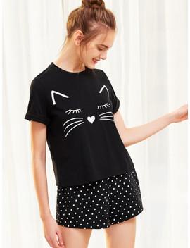 SheinCat Print Cuffed Top And Polka Dot Shorts Pajama Set by Shein