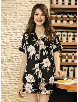 Floral Print Shirt & Shorts Pj Set by Shein