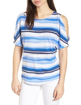 Hazy Horizons Cold Shoulder Linen Top by Tommy Bahama