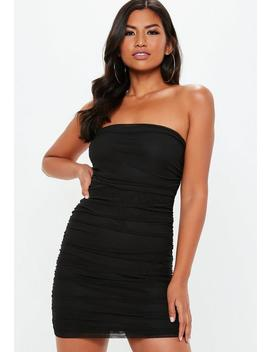 Black Mesh Ruched Bandeau Bodycon Dress by Missguided