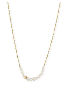 Pearl Necklace With Diamond Rondelle by Sydney Evan
