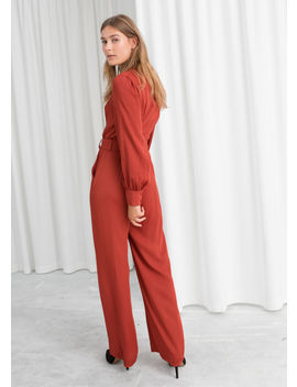 Belted V Neck Jumpsuit by & Other Stories
