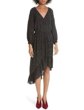 Asymmetrical Dotted Chiffon Dress by Joie