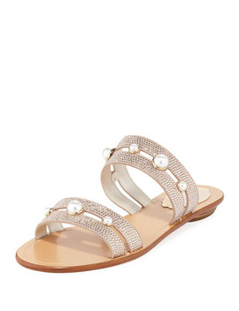 Akiko Flat Embellished Slide Sandals by Rene Caovilla