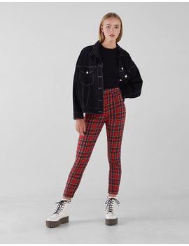 Spodnie Skinny W Czerwoną Kratkę by Bershka