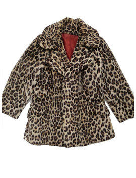 1960s Fitted Vintage Faux Leopard Fur Coat Uk 10 by Revival4 Vintage