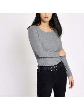 Grey Scoop Neck Long Sleeve T Shirt by River Island
