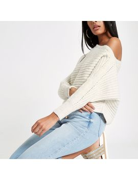 Cream Knit Asymmetric Off Shoulder Jumper by River Island
