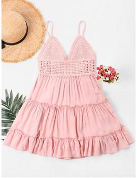 Crochet Panel Cami Flare Dress   Pig Pink S by Zaful