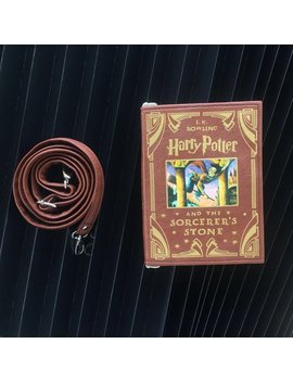 Sale Harry Potter And The Sorcerer's Stone Book Clutch Brown Faux Leather Clutch by Krukru Studio Books