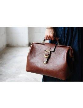 Artemis Leatherware Hand Stitched Leather Doctor Bag/ Carry On Bag by Artemis Leatherware