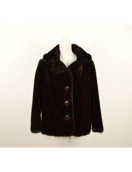 Luxurious Vintage 60s Faux Fur Coat     Dark Brown Faux Fur Coat    Vintage Fake Fur Jacket     Vegan Faux Fur Coat by Elsie Moon Vintage