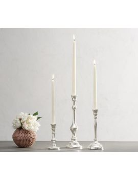 Monique Lhuillier Silver Taper Candlesticks   Set Of 3 by Pottery Barn