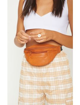 Orange Leather Front Zip Bum Bag by Prettylittlething
