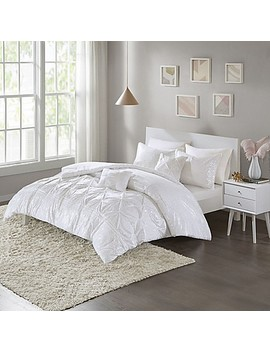 Intelligent Design Adele Metallic 5 Piece Full/Queen Comforter Set In White/Silver by Bed Bath And Beyond