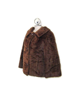 60s Faux Fur Coat 3/4 Sleeve Jacket Short Jacket Faux Fur Jacket 1960s Dress Jacket Brown Faux Fur Coat Brown Jacket Brown Fall Jacket by Beth Jennifer Vintage