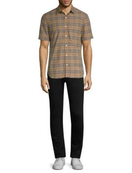 Alexander Plaid Short Sleeve Cotton Button Down Shirt by Burberry