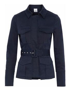 Sade Belted Cotton Blend Gabardine Jacket by Iris & Ink
