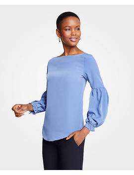 Ruffle Balloon Sleeve Top by Ann Taylor
