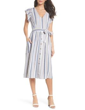 Stripe Button Front Fit & Flare Midi Dress by First Monday