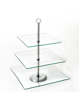 3 Tier Square Glass Cake Stand by Chef Buddy