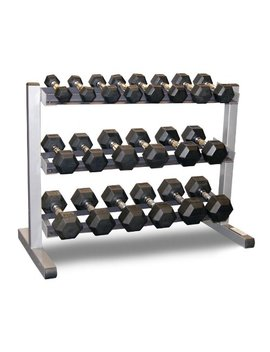 Body Solid 3 Tier Rack & Bodypower 1 10 Kg Rubber Hex Dumbbell Set by Body Solid