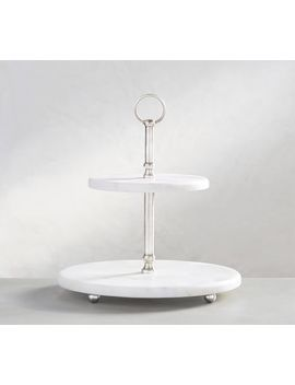 White Marble Pewter Tiered Stand by Pottery Barn