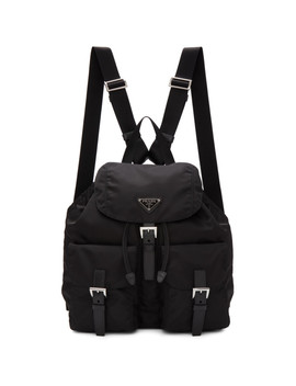 Black Nylon Regular Backpack by Prada