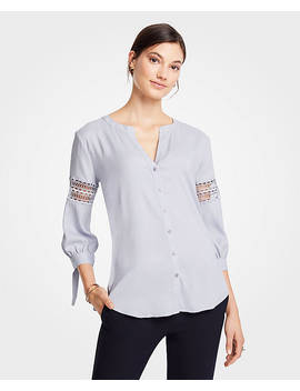 Lacy Tie Cuff Blouse by Ann Taylor