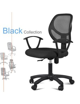 Yaheetech Adjustable Swivel Computer Desk Chair Fabric Mesh Office Chair With Arms Seating Back Rest,Black by Yaheetech