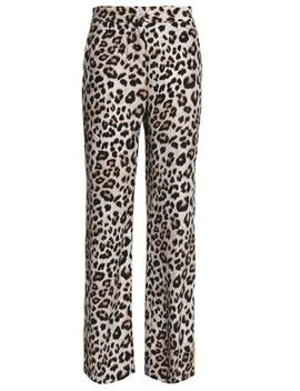 Leopard Print Washed Silk Straight Leg Pants by Equipment