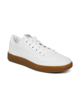 Puma Men White Court Breaker L Mono Sneakers by Puma