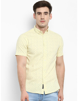 Red Tape Men Yellow Regular Fit Printed Casual Shirt by Red Tape