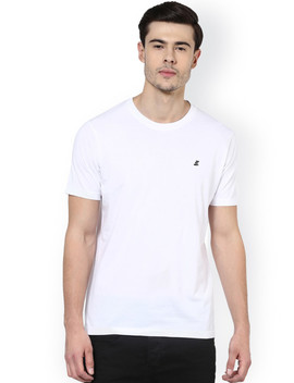 Elaborado Men White Solid Round Neck Slim Fit T Shirt by Elaborado