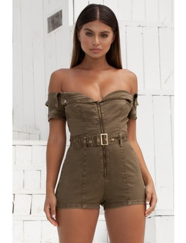 Tight On Cue Denim Bardot Playsuit In Khaki by Oh Polly