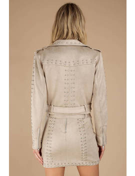 Agnès Stone Cropped Moto Jacket by Tobi