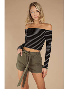 Endless Summer Olive Front Tie Shorts by Tobi