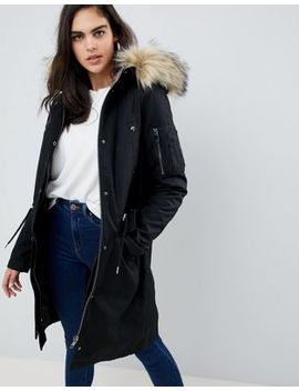 Asos Design Tall Parka With Detachable Faux Fur Liner by Asos Design